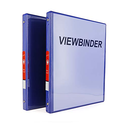 """Emraw Super Great 1/2"""" 3-Ring View Binder with 2-Pockets - Available in Blue - Great for School, Home, & Office (2-Pack)"""