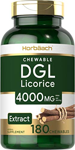 DGL Licorice Chewable Tablets | 4000 mg | 180 Count | Vegetarian, Non-GMO, Gluten Free | Deglycyrrhizinated Licorice Root Extract | by Horbaach