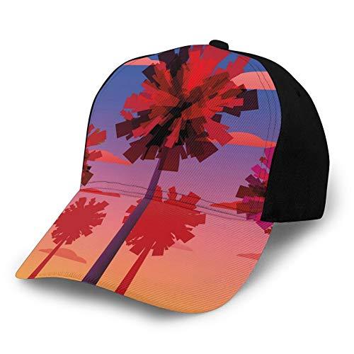 Gorra de béisbol para hombre y mujer, estilo contemporáneo, árboles tropicales, nubes y puesta del sol, efecto degradado, exótico, Skyscape clásico, ajustable, llano
