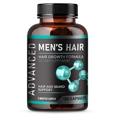 Hair Growth Vitamins For Men - Anti Hair Loss Pills. Regrow Hair & Beard Growth Supplement For Volumize, Thicker Hair.Stop Hair Loss And Thinning Hair With Biotin & Saw Palmetto Hair Vitamins.120 Caps