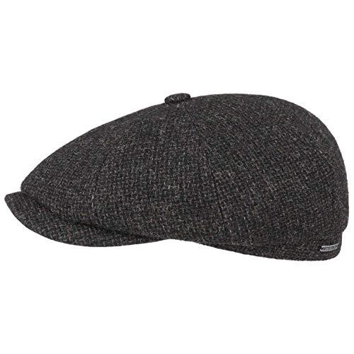 Stetson Hatteras Shetland Wool Flatcap - Schirmmütze Herren - Schiebermütze aus Wolle - Innen mit Baumwolle gefüttert - Herrencap Herbst/Winter schwarz 61 cm