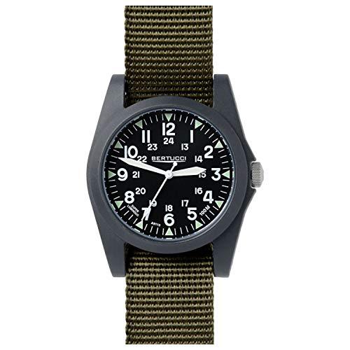 Bertucci A-3P Sportsman Vintage Field Black/Olive (Green) Nylon Analog Quartz Men's Watch 13351