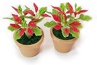 The Best Buy 2 of Dollhouse Miniature Christmas /Poinsettia Tree in Terracotta Pot 1:12 Scale