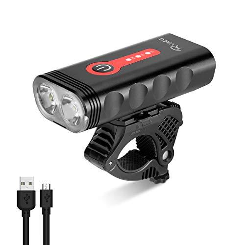 Luz de Bicicleta RYACO, Luces de Bicicleta Recargables USB, Faro Delantero, 2400 lúmenes, 4 Modos, IP65, luz de montaña Impermeable para Ciclismo, Linterna (Negro y Rojo)
