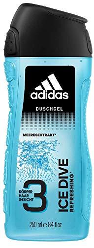 adidas Ice Dive Duschgel - mit 3-in-1 Formulierung für Gesicht, Körper und Haar & ein langanhaltendes Frischegefühl - Duschgel (250 ml)