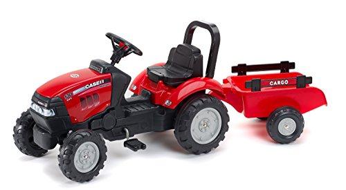 Falk 961B - Tractor a Pedales con Remolque, Color Rojo