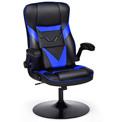COSTWAY Gaming Stuhl mit Schaukelfunktion, PC Stuhl höhenverstellbar und drehbar, Racingstuhl mit Verstellbarer Rückenlehne und Armlehne, Computerstuhl, Schreibtischstuhl inkl. Lendenkissen