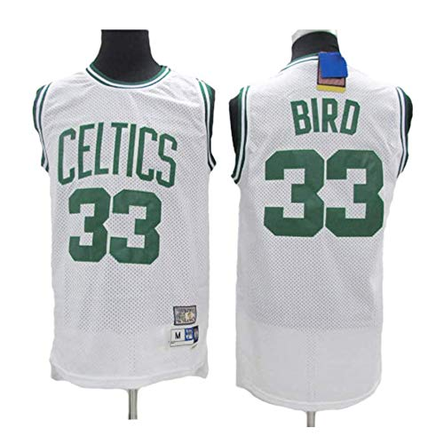 XSJY Uomo Basketball Maglia Larry Bird # 33 - NBA Boston Celtics, Respirabile Freddo di Tessuto Ricamato Nuovo Retro all-Star Sports Jersey Top,B,M:170~175cm/65~75kg
