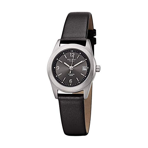 REGENT Damen-Armbanduhr Titan analog Quarz Lederband F-659
