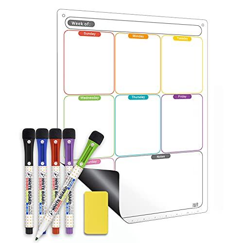 Magnetic Calendar for Refrigerator Set. Weekly Dry Erase Fridge Calendar Whiteboard Meal Planner Menu Board - Thickened Magnet. with Upgraded Fine Tip Marker & Eraser & Holes for Wall Hanging