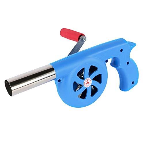 BBQ Fan Luftgebläse Handkurbel Grill Feuerkugel für Camping Herd (Farbe: Blau)