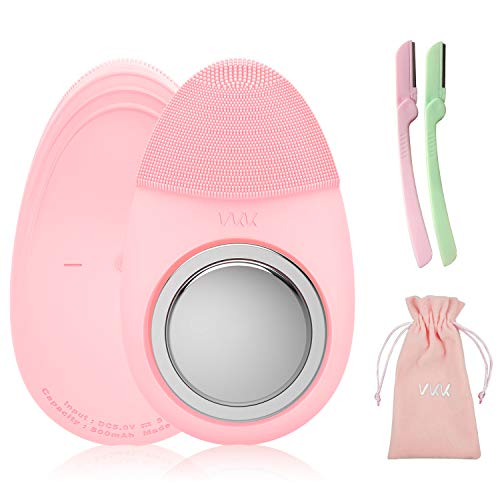 Facial Cleansing Brush - VKK Silicone Sonic Face Brush for Makeup Remove Deep Cleansing Essence Absorption V-line Lifting