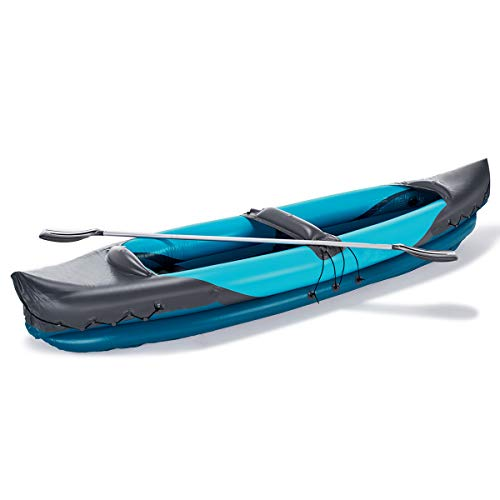 2 Person Inflatable Kayak Canoe - 10 Ft Inflatable Kayak Set with Aluminum Oars Paddles Fishing Dinghy Raft Hovercraft Boat for Adults and Kids