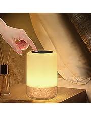 Led-nachtlampje, dimbaar, houtnerf, bedlampje, batterij, 8 kleuren, led-tafellamp met timer en geheugenfunctie, voor slaapkamer, woonkamer en kantoor