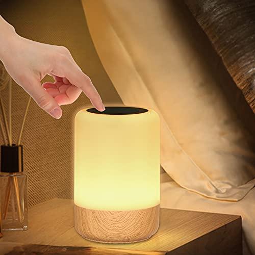 LED Nachttischlampe Touch Dimmbar, Holzmaserung Nachttischlampe Batterie, 8 Farben LED Tischlampe mit Timer und Memory-Funktion für Schlafzimmer Wohnzimmer und Büro