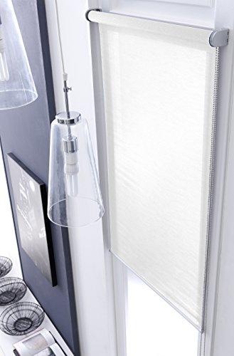 MADECOSTORE Store Enrouleur Voile Mesh Tissu Uni Blanc perle - L104 x H250cm - Avec perçage