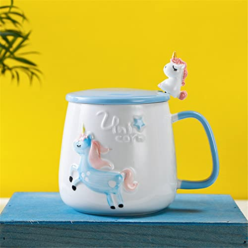 RZHIXR 3D Three-Dimensional Ceramic Cup Hand-Painted Embossed Pony Coffee Cup With Lid Spoon, Children'S Breakfast Milk Mug 350ml