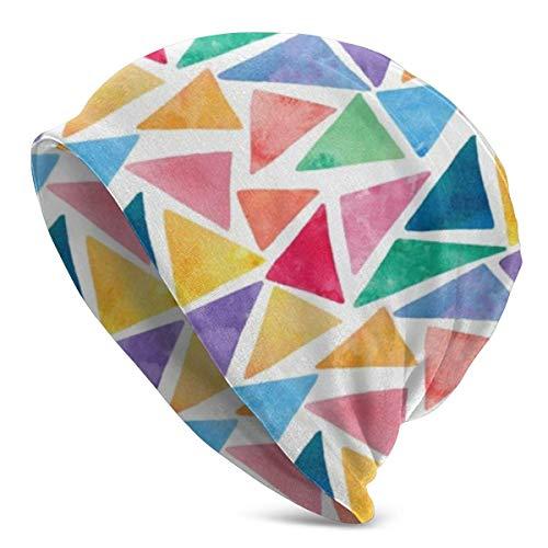 XCNGG Colorido patrón de triángulos de Acuarela Suave y Holgado Beanie Sombreros Gorra de Calavera Holgada Larga Diaria - Hombres y Mujeres