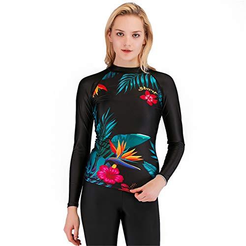 XDXART Damen Tauchanzug Split Schnorcheln Badeanzug Komfortable Schnell Trocknende Langarm-Sonnencreme Surf Top Jellyfish Top (Black, L)