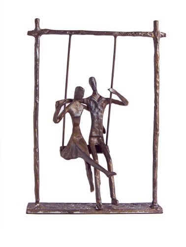 Danya B. ZD9022 Contemporary Metal Art Shelf Décor - Cast Bronze Sculpture - Couple on a Swing