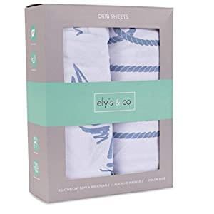 crib bedding and baby bedding ely's & co. crib sheet set 100% jersey cotton 2 pack - dusty blue nautical print
