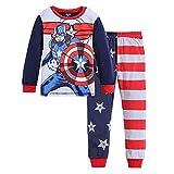 Boys Captain America Costume Pajamas Sets Children Christmas Pants 100% Cotton Spider-Man Long Kids Snug Fit Pjs Winter Toddler Sleepwear (132, 4T)