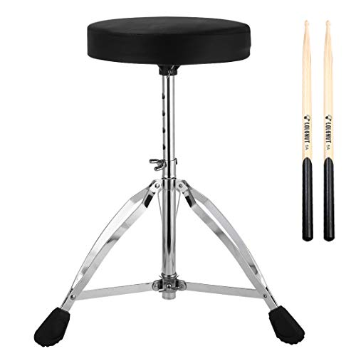 Drum Throne,Height Adjustable Tripod Stools,Portable Folding Padded with 5A Drum Stick,Double Braced and Anti-Slip Feet Seat for Kids and Adults