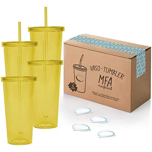 Vasos de Plástico Duro con Tapa y Pajita - Libre de BPA - Incluye Pegatinas Reutilizables y eBook de Coctelería - Set de 4 Vasos plasticos reutilizables de 700 ml - Marfrand (Amarillo)
