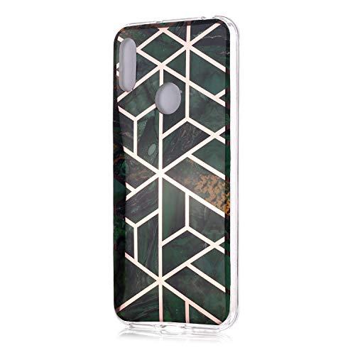Fatcatparadise für Huawei Y6 2019 / Honor 8A Hülle + Displayschutz, Galvanisiert Marmor Weich Silikon Handyhülle Schlank TPU Bumper Handytasche Gummi Dünn Abdeckung Schutzhülle (Grün)