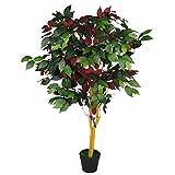 Hoja de 120 cm de árbol Artificial Ficus Plant-Extra Grande, Rojo Verde Capensia