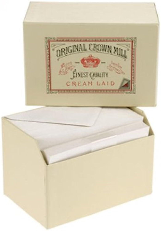 Original Crown Mill Luxus Schreibset, 50 Korrespondenzkarten DIN A6 und 50 Umschläge DIN C6 in fein geripptem Papier - Cremefarben B006ZXT3FO | Perfekt In Verarbeitung