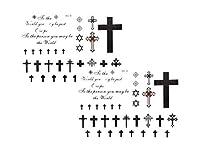 【SRrabbit】フェイク タトゥー シール モノクロ 白 黒 小 シンプル ボディー シール クロス 十字架 TATOO Halloween ハロウィン 水だけで 簡単に 貼れる (2枚セット)