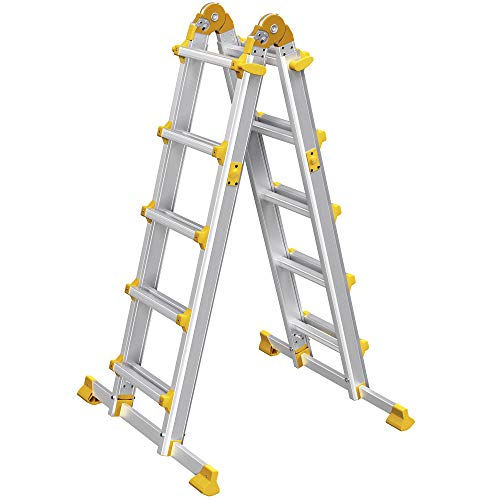 SONGMICS Escalera Multifuncional de Aluminio, Escalera Plegable en Forma de A, Escalera Telescópica, Longitud Máxima de 4,6 m, Capacidad de Carga de 150 kg, Plata y Amarillo GLT046M01
