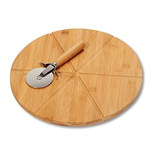 Kesper 58462 - Tabla y Cortador de Pizza (Madera de bambú, diámetro: 32 cm, Grosor: 1,5 cm)