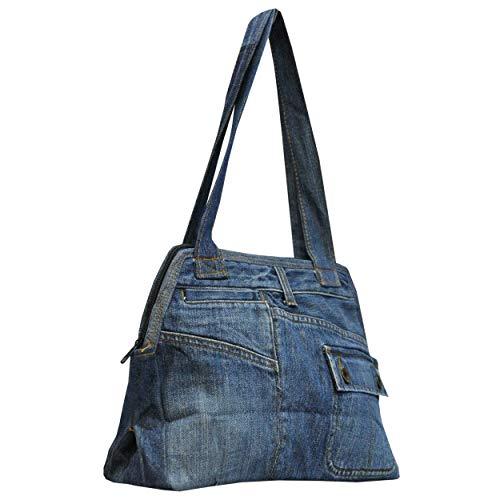 wifash Jeans Jeanstasche aus Jeanshosen genäht Umhängetasche Rucksack Schultertasche/Upcycling - aus Alt mach Neu (Henkeltasche 42094)