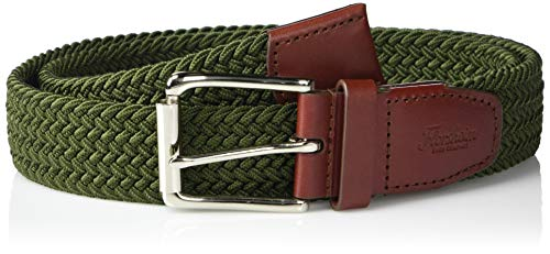 Florsheim Men's Koufax Elastic Woven Casual 35mm Belt, Olive with Cognac Leather Accents, 40