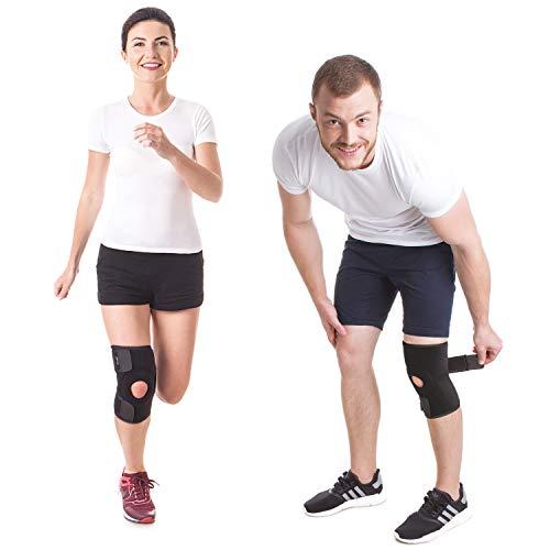 Neopren Kniebandage mit Stabilisatoren – Kniestütze – Knieorthese Knieschutz mit Klettverschluss verstellbare Schwarz Large