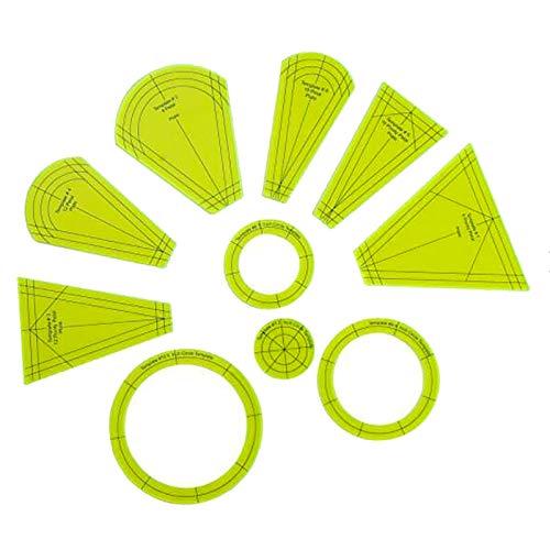2021 TIK TOK Template Ruler Set, Dresden Quilting Template Kit, Dresden Plate Template Set Quilting Cutting Mats, Patchwork Free Motion Quilting Templates Regular Dresden Petals Sewing Tools (10pcs)