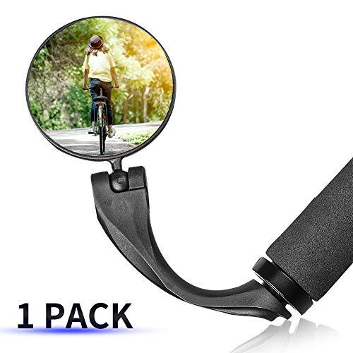 1 STÜCKE 360° Drehspiegel Fahrradspiegel für 17.4-22mm Flacher Lenker, Rückspiegel Lenkerspiegel Konvexen Reflektor Spiegel mit Weitwinkelobjektiv für Fahrrad E Bike Mountainbikes (Werkzeug Enthalten)