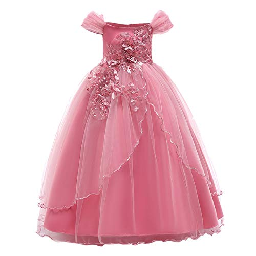 Kids Girl Off Shoulder Embroidery Flower Tulle Lace Long A Line Pageant Dress Wedding Birthday Party Floor Length First Communion Formal Princess Prom Holiday Dance Maxi Ball Gown Pink 6-7