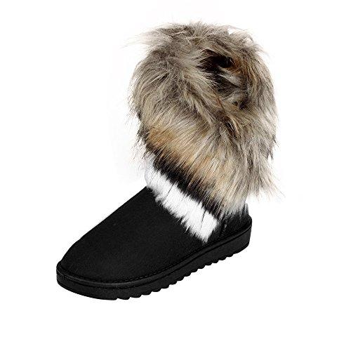 Damen Flach Schuhe SHOBDW Frauen Winter Mode Sexy Künstliche Pelz Dekoration Rutschfest Wildleder Stiefeletten Klassisch Trendigen Draussen Wild Warem Niedrig Stiefel...