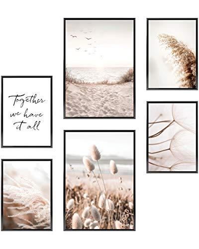 Heimlich® Premium Poster Set OHNE Bilderrahmen | Stilvolles Set mit passenden Bilder als Wohnzimmer Deko | 2 x DIN A3 & 4 x DIN A4 - ca. 30x42 & 21x30 | » Achtsam Beige Strand «