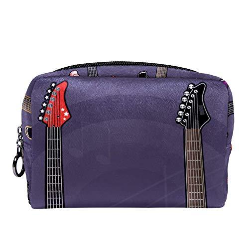 TIZORAX elektrische gitaren muziek make-up tas toilettas voor vrouwen huidverzorging cosmetische handige zak rits handtas