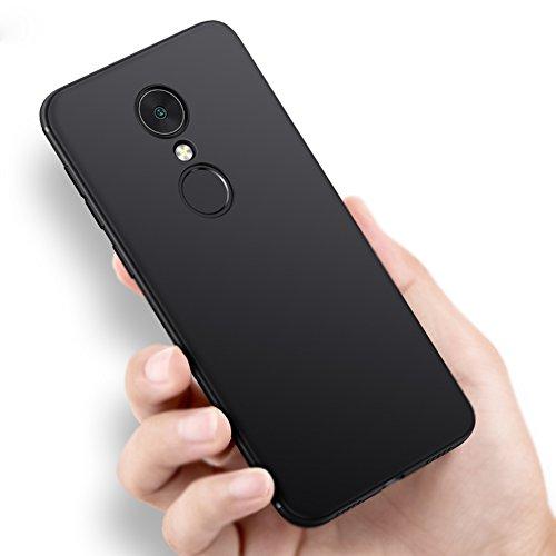 Vooway Nero Sottile Silicone Morbido TPU Custodia Cover Slim Case + Pellicola Protettiva per Xiaomi Redmi Note 5 / Redmi 5 Plus (5.99') MS50142