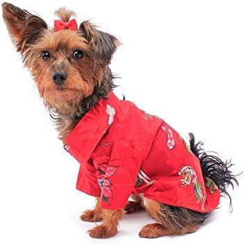 Hawaiian Matching Pattern Dog Aloha Shirt in Christmas Santa in Hawaii Red
