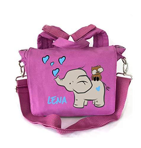 2-in-1 rugzak voor kleuterschool met naam | motief olifant & uil hart roze turquoise | kleuterschooltas kinderrugzak rugzak kinderen meisjes | personaliseren en bedrukken