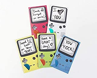 Game Boy Console Themed Lunchbox Notes for Kids & Students, Scratch Off Lunch Box Love Note Cards Do It Yourself (DIY) Hand write your own note w/Pen (pack 25 cards is 5 sets of 5 colors)
