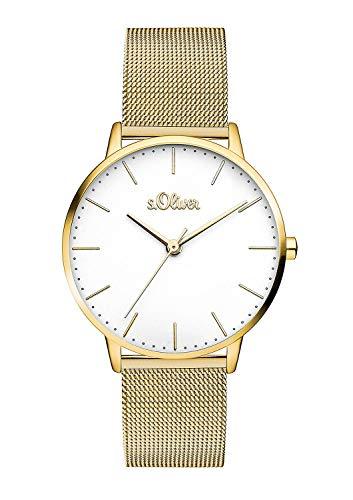 s.Oliver Damen Analog Quarz Armbanduhr mit Edelstahl Armband SO-3445-MQ