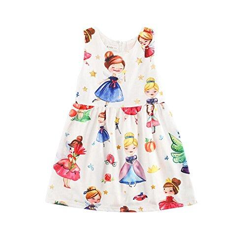 Sanlutoz Kleine Mädchen Kleider Ärmellos Jahrgang Gedruckt Prinzessin Blumenkleid (9-10 Jahre / 140cm, CDS7010)