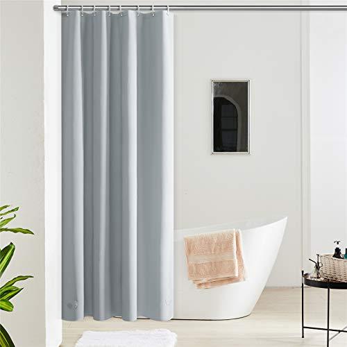 Furlinic Duschvorhang Anti-schimmel Wasserdicht Klein Badvorhang aus Eva 120x180cm Grau mit 8 Duschvorhangringen Saum mit Steinen.